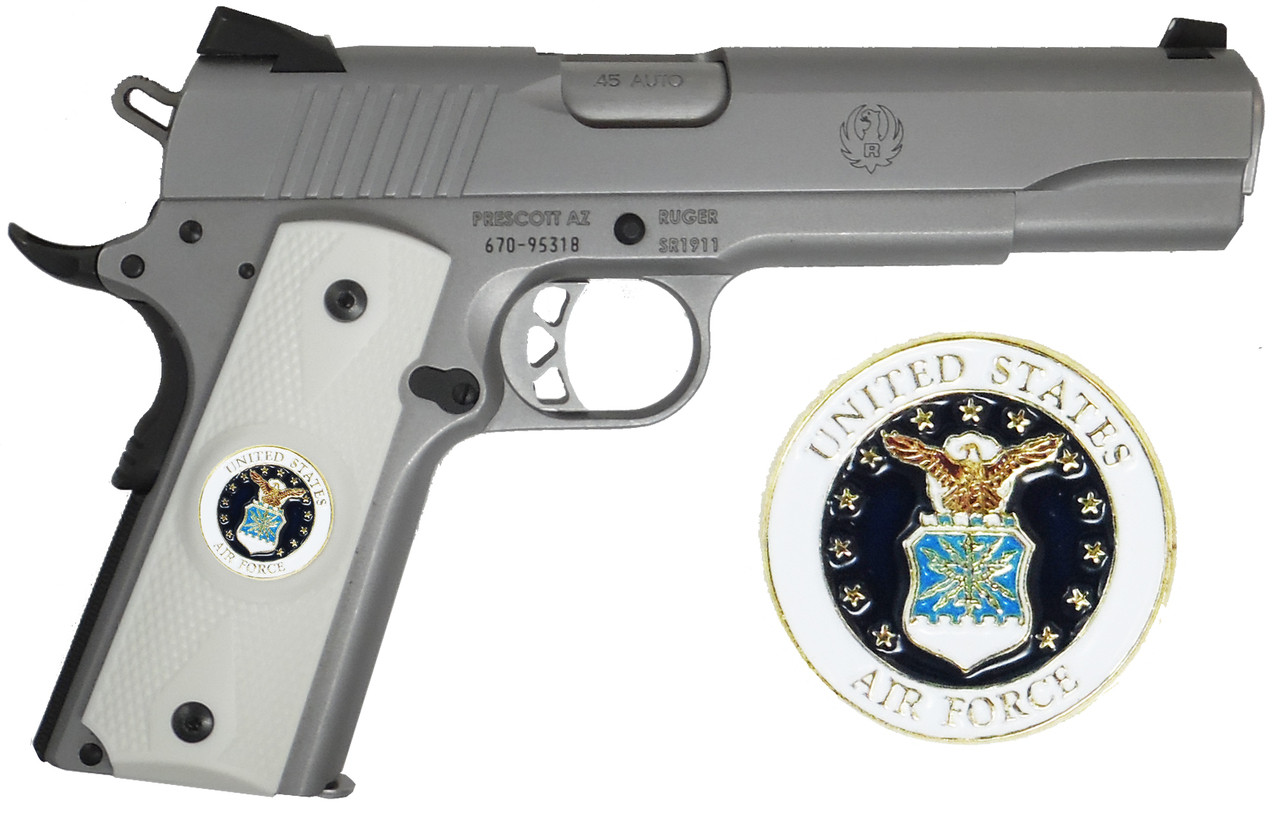 Garrison Grip 1911 Colt A1 Full Size and Clones (Grips Only) with US Air Force Colored Medallion Set in Double Diamond White Ivory Colored ABS