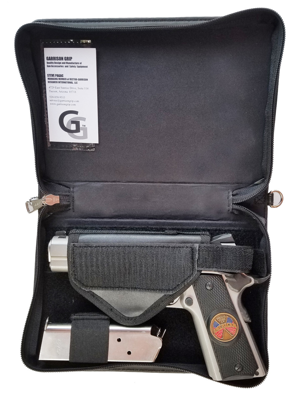 Garrison Grip CCW Leather Good Book Style Gun Case for Carry or Storage with Silver Leaf Letters for Large to Small Guns (BLK)