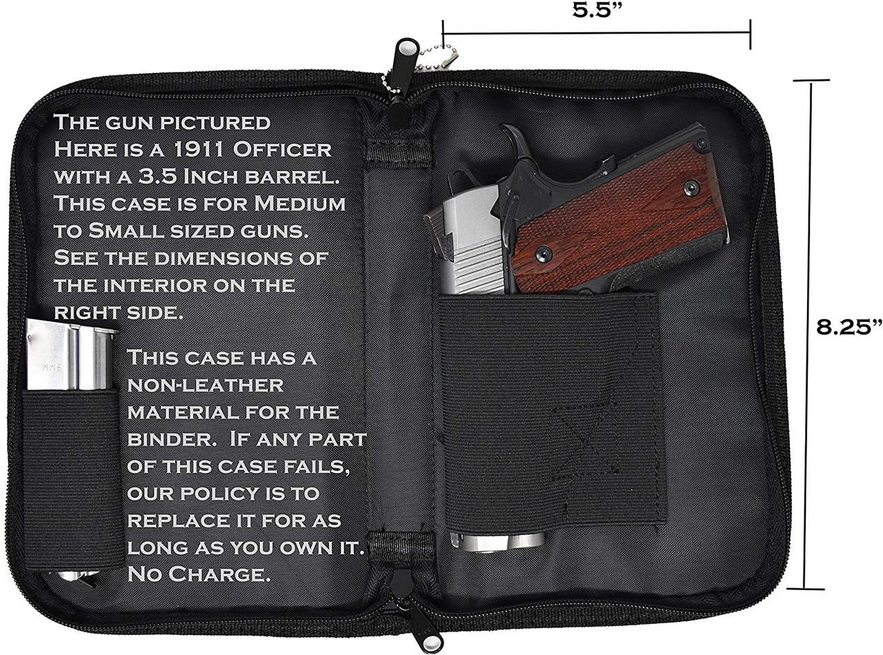 Garrison Grip Faux Leather & Canvas Lockable Bible Style Gun Case for Medium Sized, Compact & Subcompacts