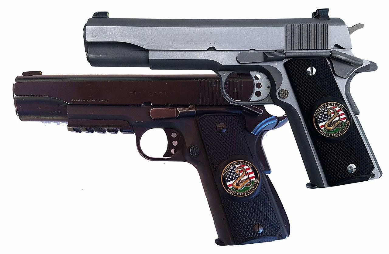 Garrison Grip 1911 Colt A1 Full Size and Clones (Grips Only) with UNITED WE STAND Colored Medallion Set in Solid High Grade Ebony Black Colored ABS