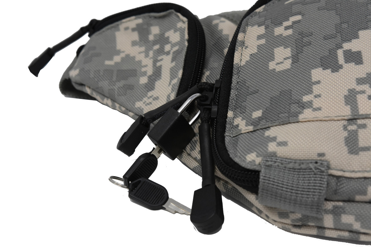 Garrison Grip Camouflage Concealed Carry 3 Compartment Durable Canvas Fanny Pack For Small Pistols With Locking Gun Compartment