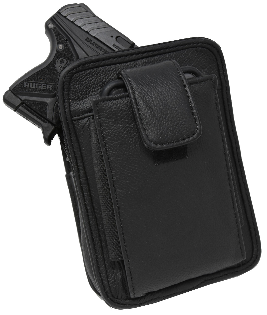 Black Leather Unisex OWB CCW Cell Phone Clutch For Small Pistols