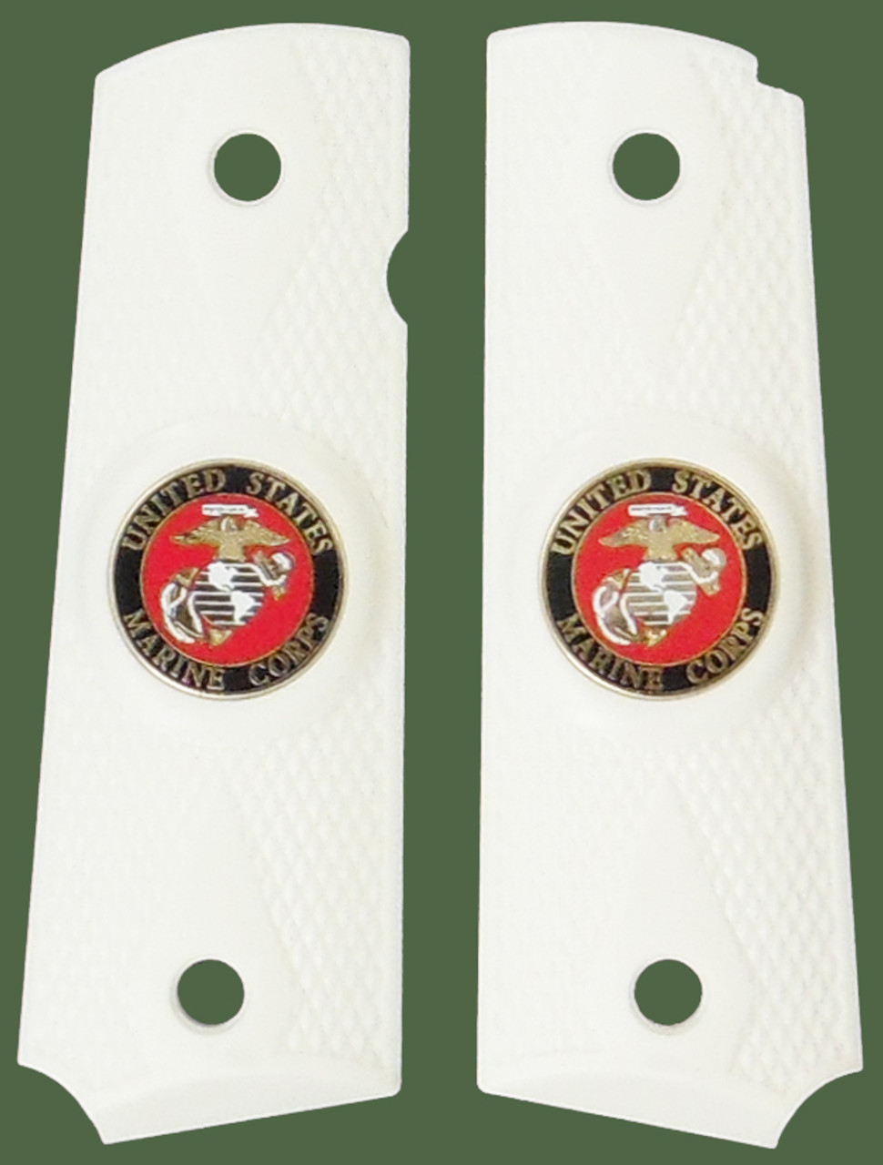 1911 Government Model US Marine Corps USMC Emblems Set In Light Ivory Color Grips G54