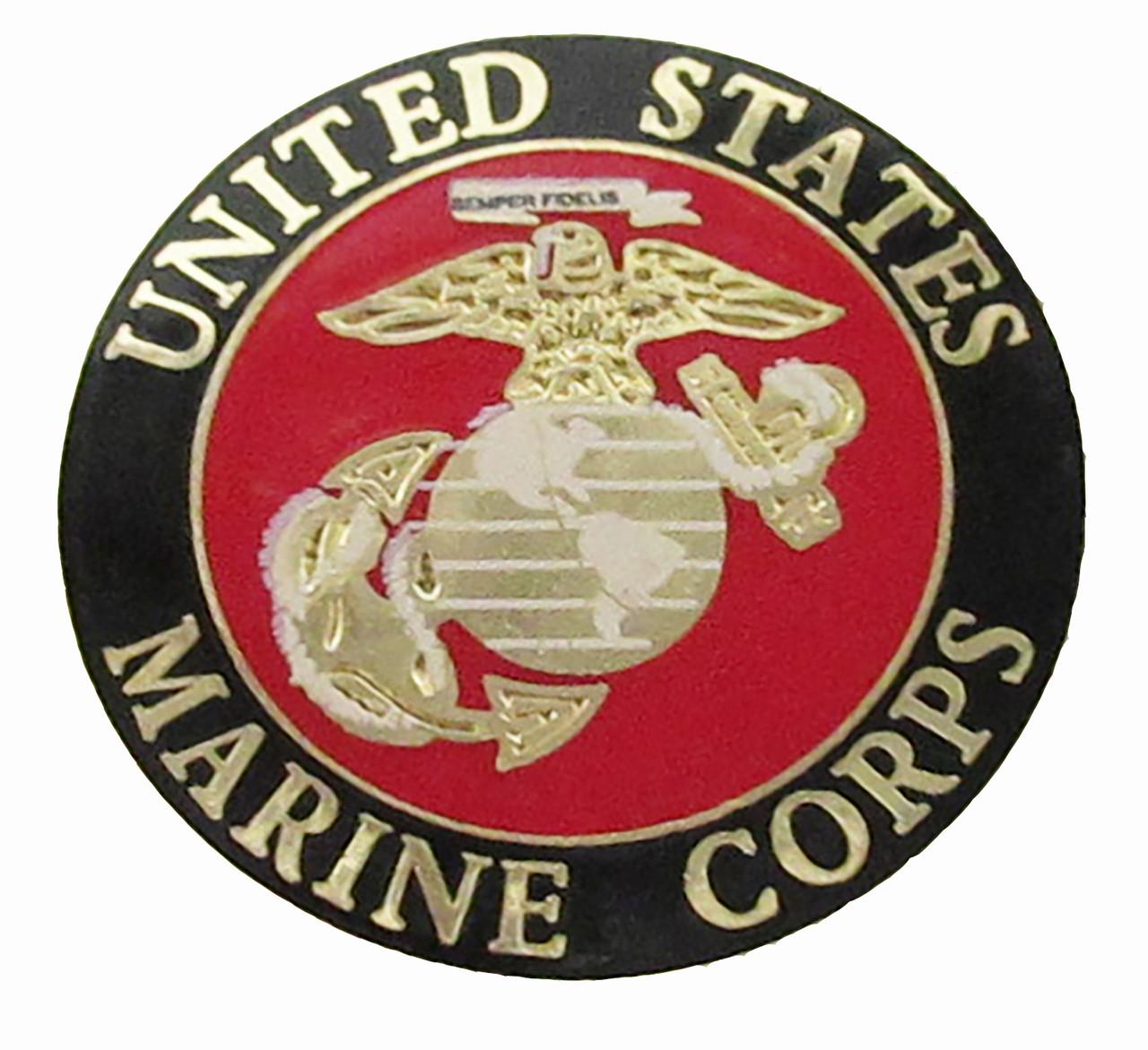 1911 Government Model US Marine Corps USMC Porcelain Emblems Set In Ebony Black Color Grips G54 (DD)