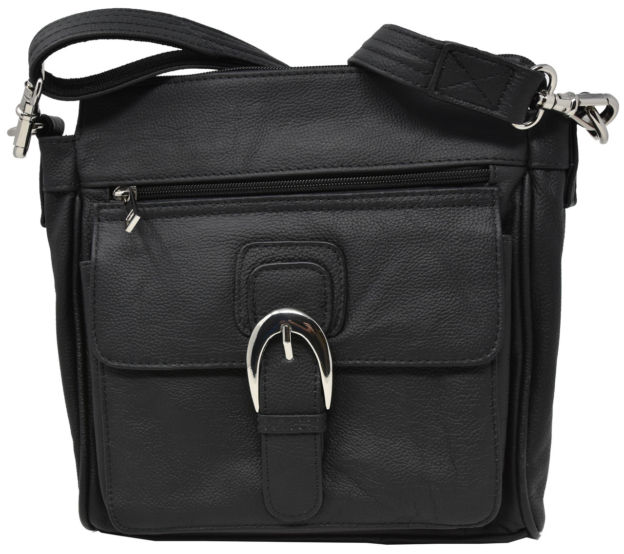 2354d4d351db Black Crossbody or Shoulder Carry Leather Locking Concealment Purse - CCW  Concealed Carry Gun Bag