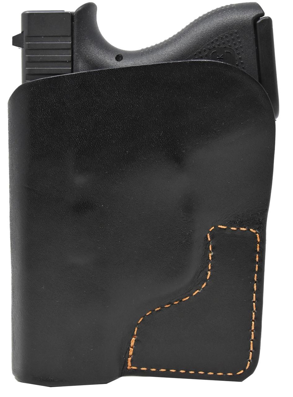 Black Italian Leather Pocket Holster for Glock 43 and Similar Guns