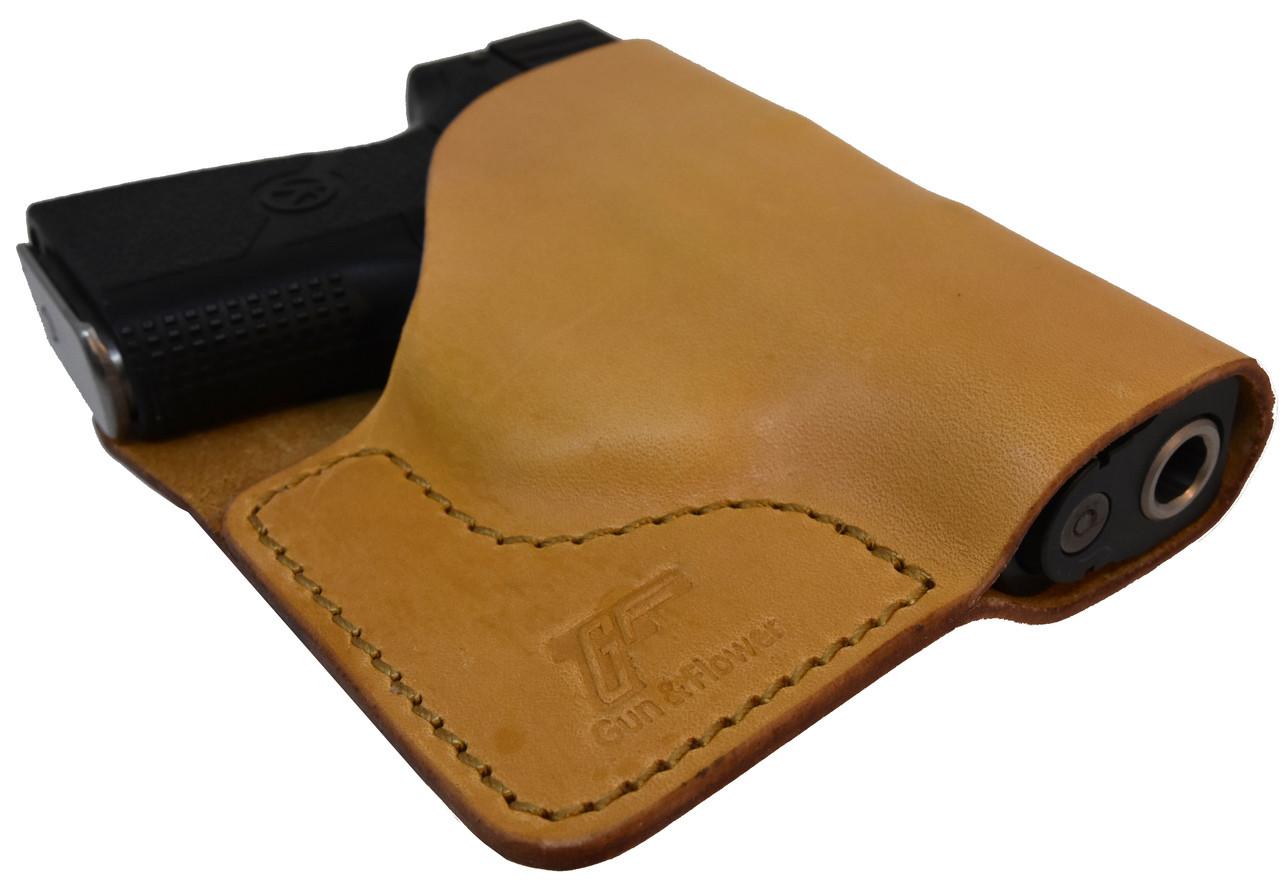 Tan Italian Leather Pocket Holster for Kahr PM9 and Similar Guns