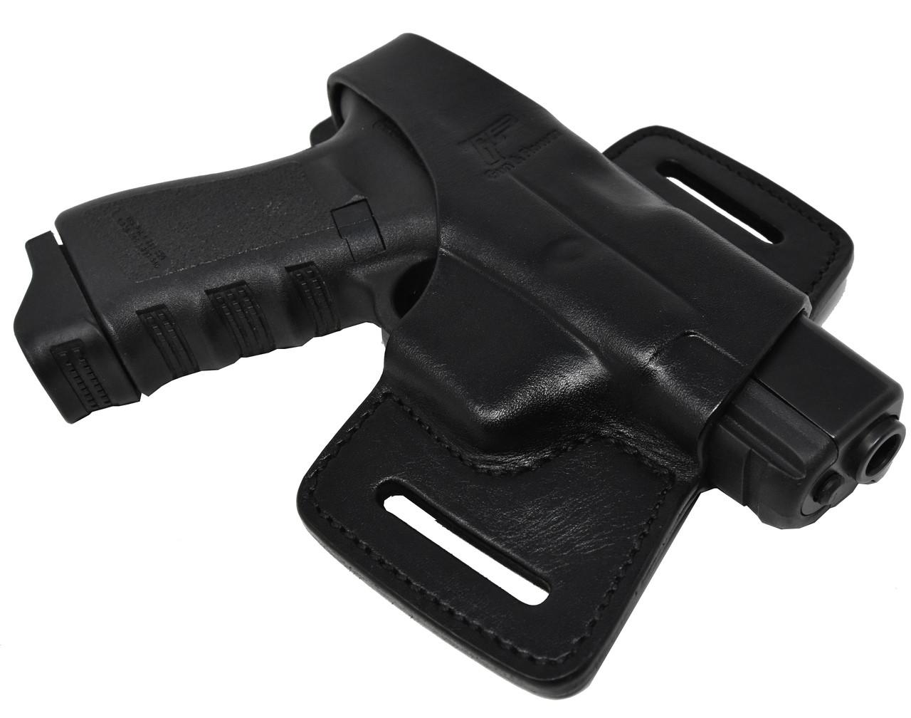 Garrison Grip Black Italian Leather Tactical Holster For All Large GLOCKS Models