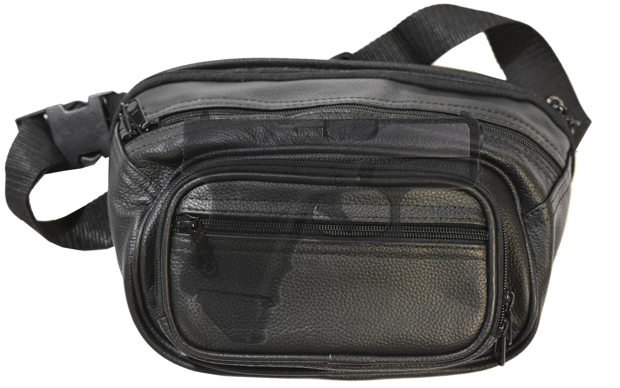 Garrison Grip Concealed Carry FOUR ZIPPER Compartments Durable Black Leather Waist Fanny Pack with Locking Gun Compartment For Medium Guns. One Lock Included.