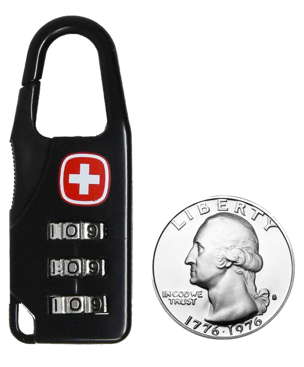 Swiss Army Combination Carabiner Style Lock For Tactical Gear and Travel Luggage