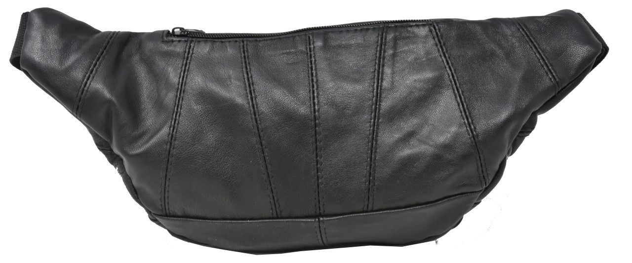 Garrison Grip CCW Concealed Carry 3 Compartment Durable Black Leather Waist Fanny Pack For Small Pistols
