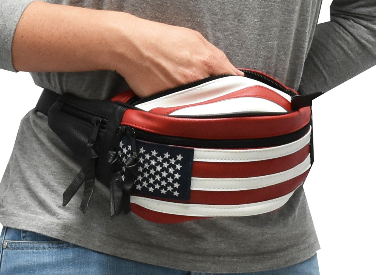 CCW Concealed Carry 5 Compartment Durable Patriot Genuine Leather / Poly Waist Fanny Pack For Small Pistols.