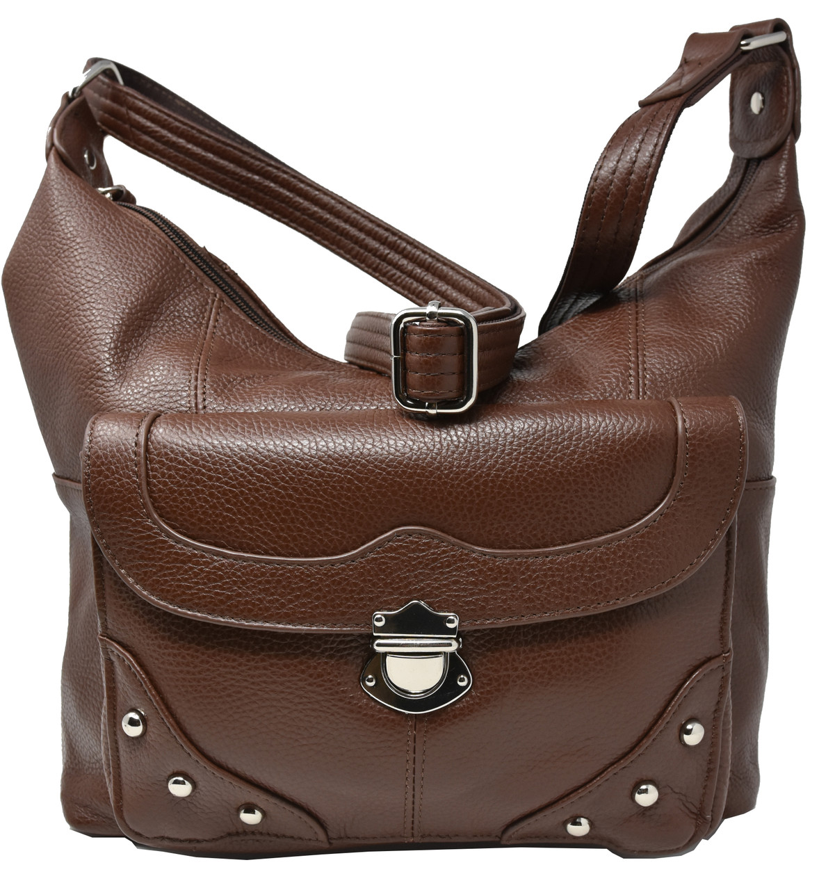 Garrison Grip Brown Crossbody or Shoulder Carry Leather Locking Concealment Purse - CCW Concealed Carry Gun Bag