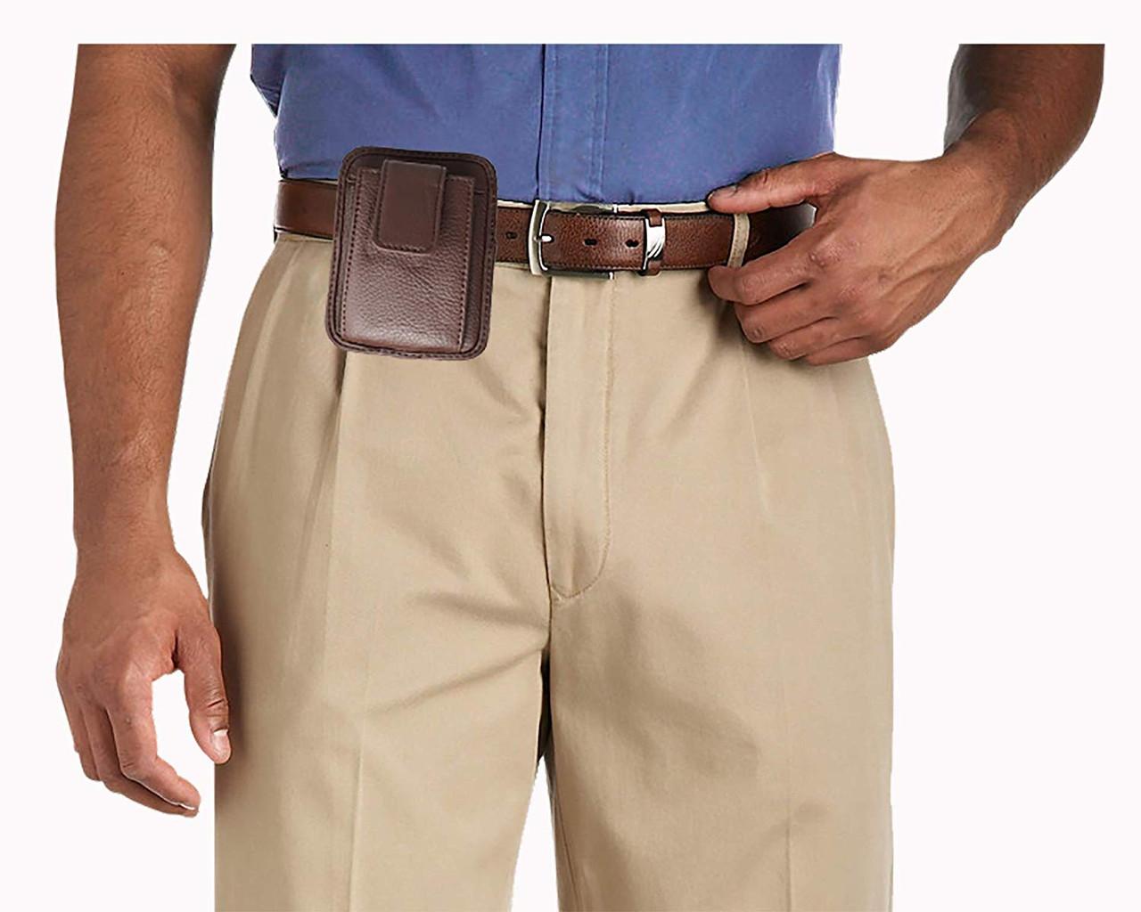 Premium Leather Unisex OWB CCW Flip Phone Belt Pack For Small Pistols