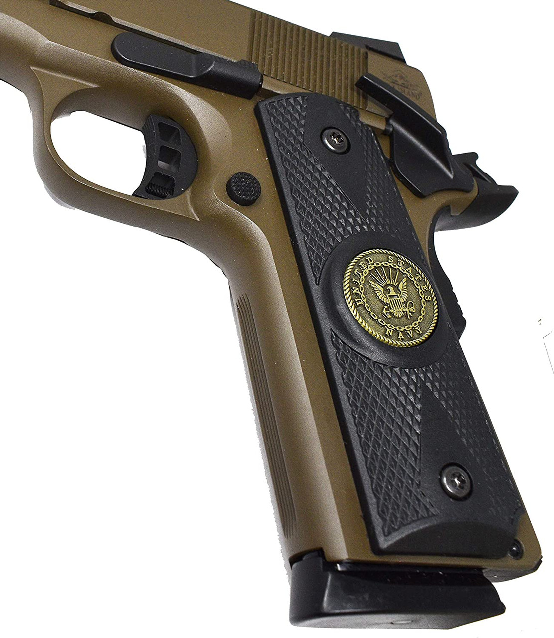 Garrison Grip 1911 Colt A1 Full Size and Clones (Grips Only) with US Navy Pewter Medallion Set in Double Diamond Ebony Black Colored ABS
