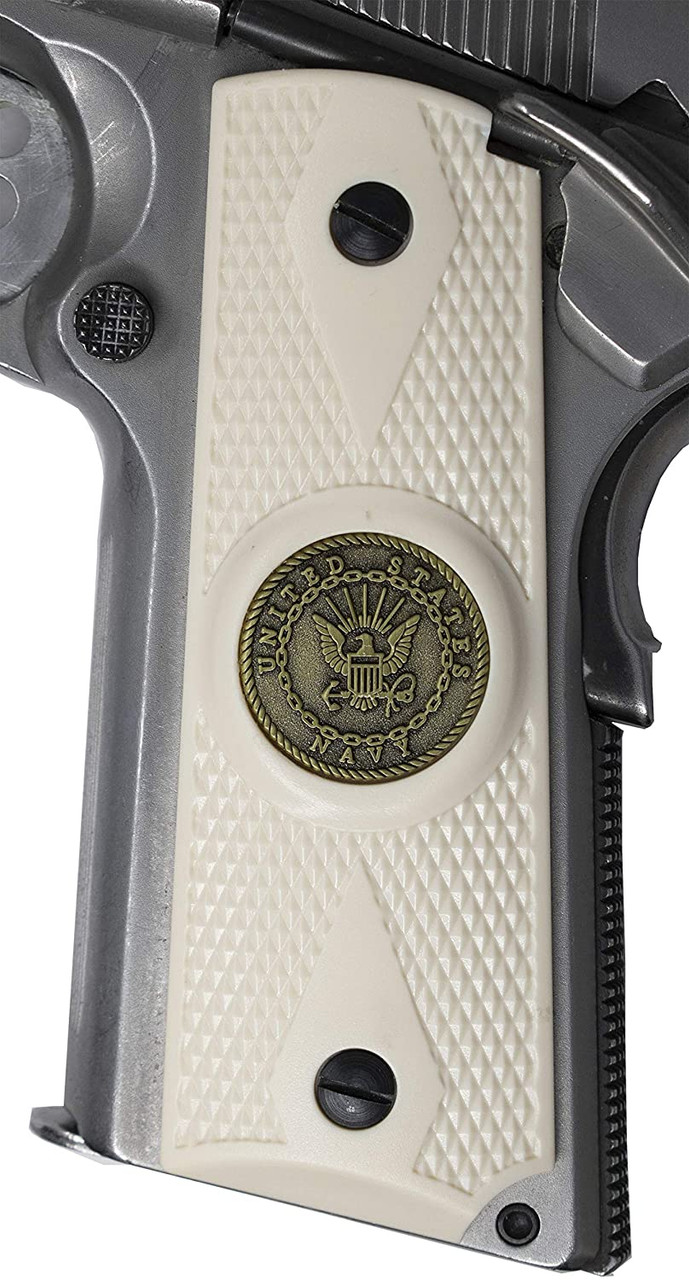 Garrison Grip 1911 Colt Full Size and Clones with US Navy Pewter Medallion Set in Ivory Polymer Grips