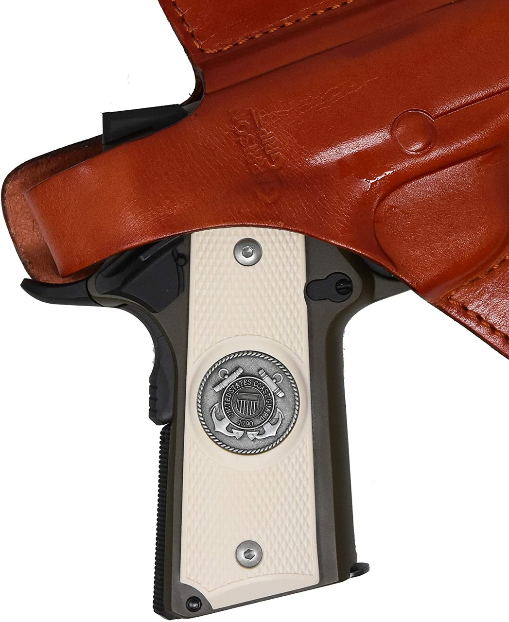 Garrison Grip 1911 Colt Full Size and Clones with US Coast Guard Pewter Medallion Set in High Grade Ivory Colored ABS