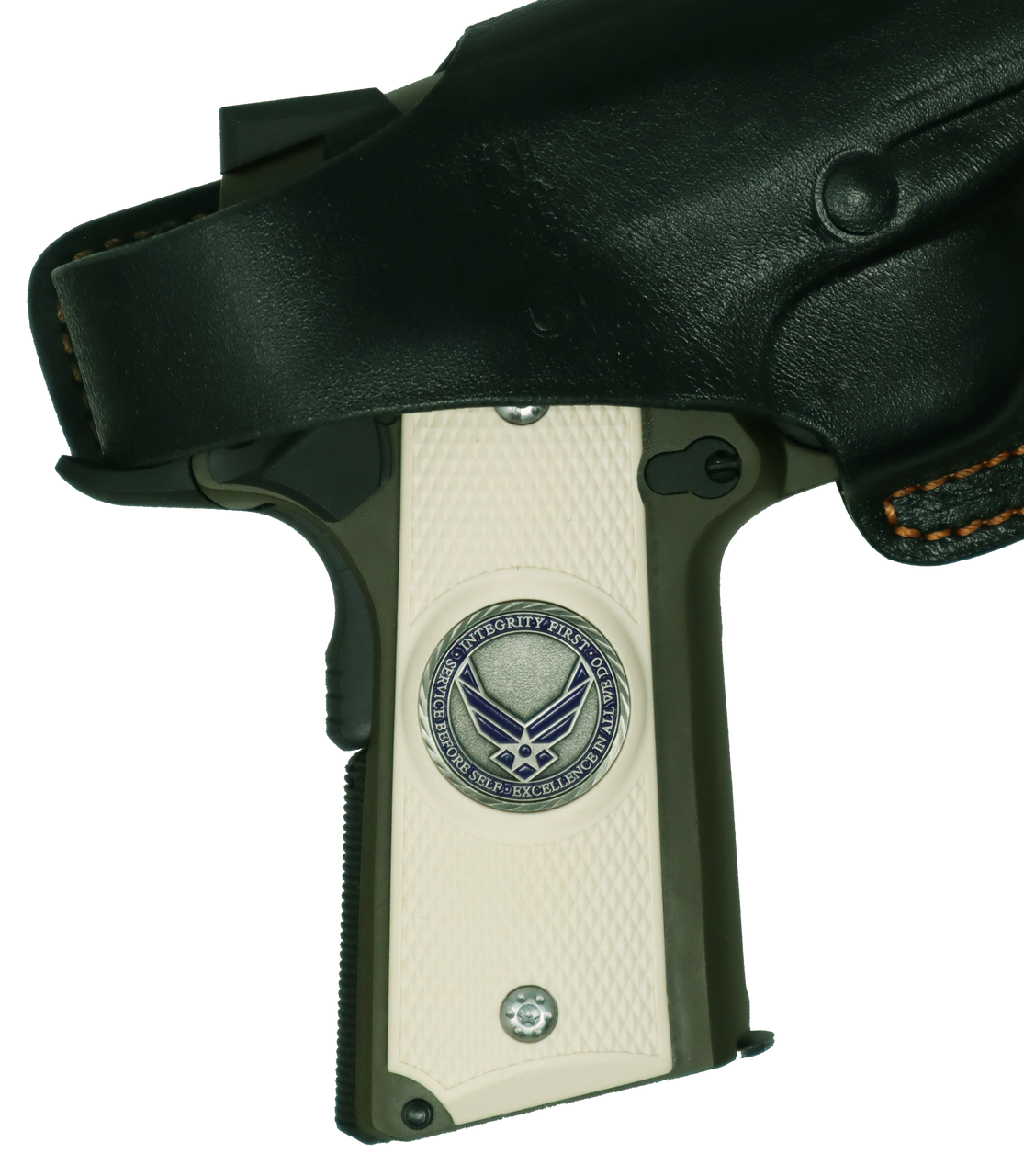 Garrison Grip 1911 Colt Full Size and Clones with US AIR Force Pewter Medallion Set in Light Ivory Color ABS Grips