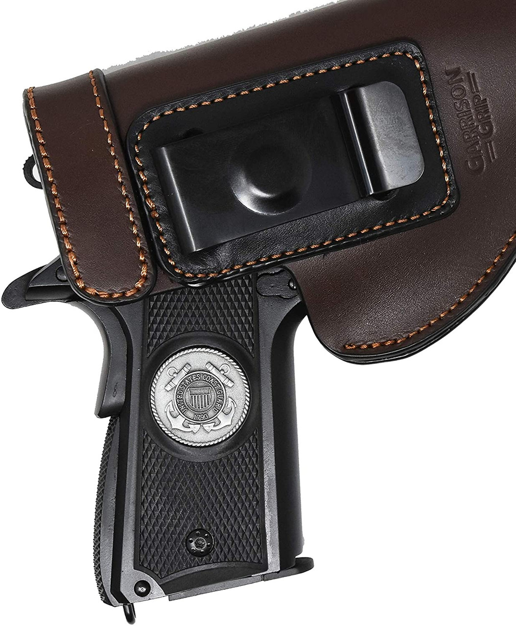 Garrison Grip 1911 Colt A1 Full Size and Clones (Grips Only) with US Coast Guard Pewter Medallion Set in Solid High Grade Ebony Black Colored ABS