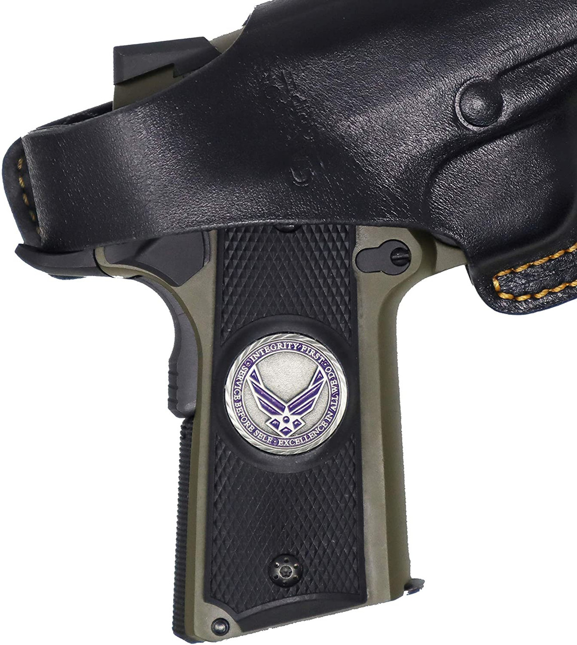 Garrison Grip 1911 Colt Full Size and Clones with US AIR Force Pewter Medallion Set in Ebony Black Color Polymer Grips