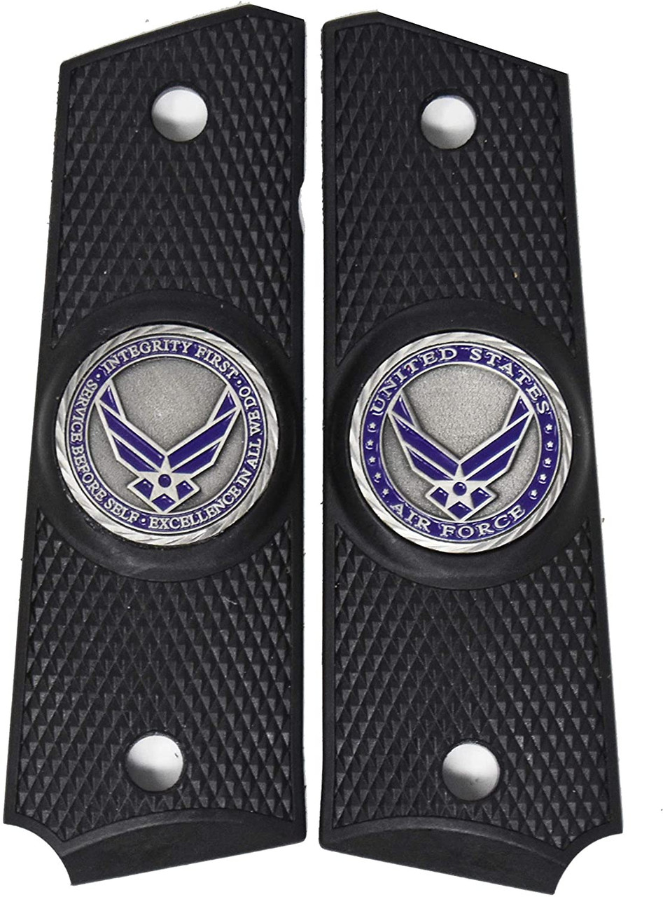 Garrison Grip 1911 Colt A1 Full Size and Clones (Grips Only) US Air Force Pewter Medallion Set in Solid High Grade Ebony Black Colored ABS