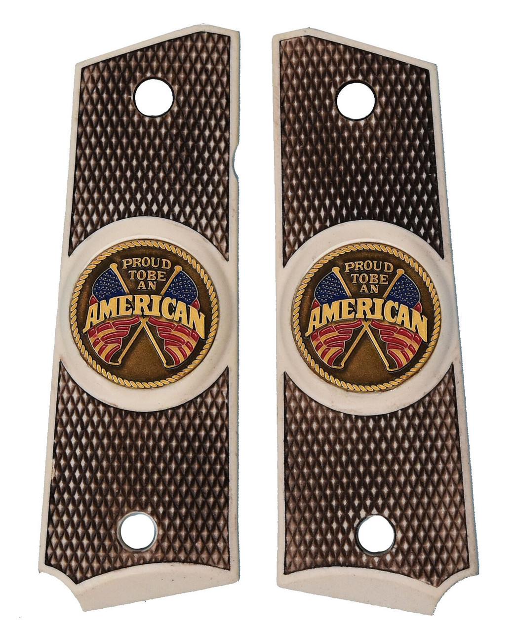 Garrison Grip 1911 Colt Full Size and Clones with PROUD TO BE AN AMERICAN Medallion Set in Faux Bone Color Polymer Grips