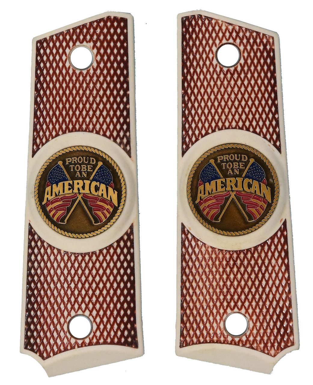 Garrison Grip 1911 Colt Full Size and Clones with PROUD TO BE AN AMERICAN Medallion Set in Faux Bone RED Color Polymer Grips