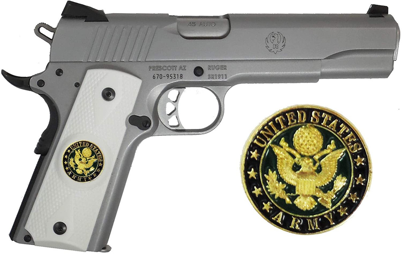 Garrison Grip 1911 Colt A1 Full Size and Clones (Grips Only) with US Army Colored Medallion Set in Double Diamond White Ivory Colored ABS