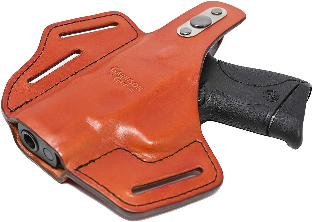 Garrison Grip Premium Full Grain Italian Leather 2 Position Tactical Holster Fits S&W M&P Shield 40 (Tan)