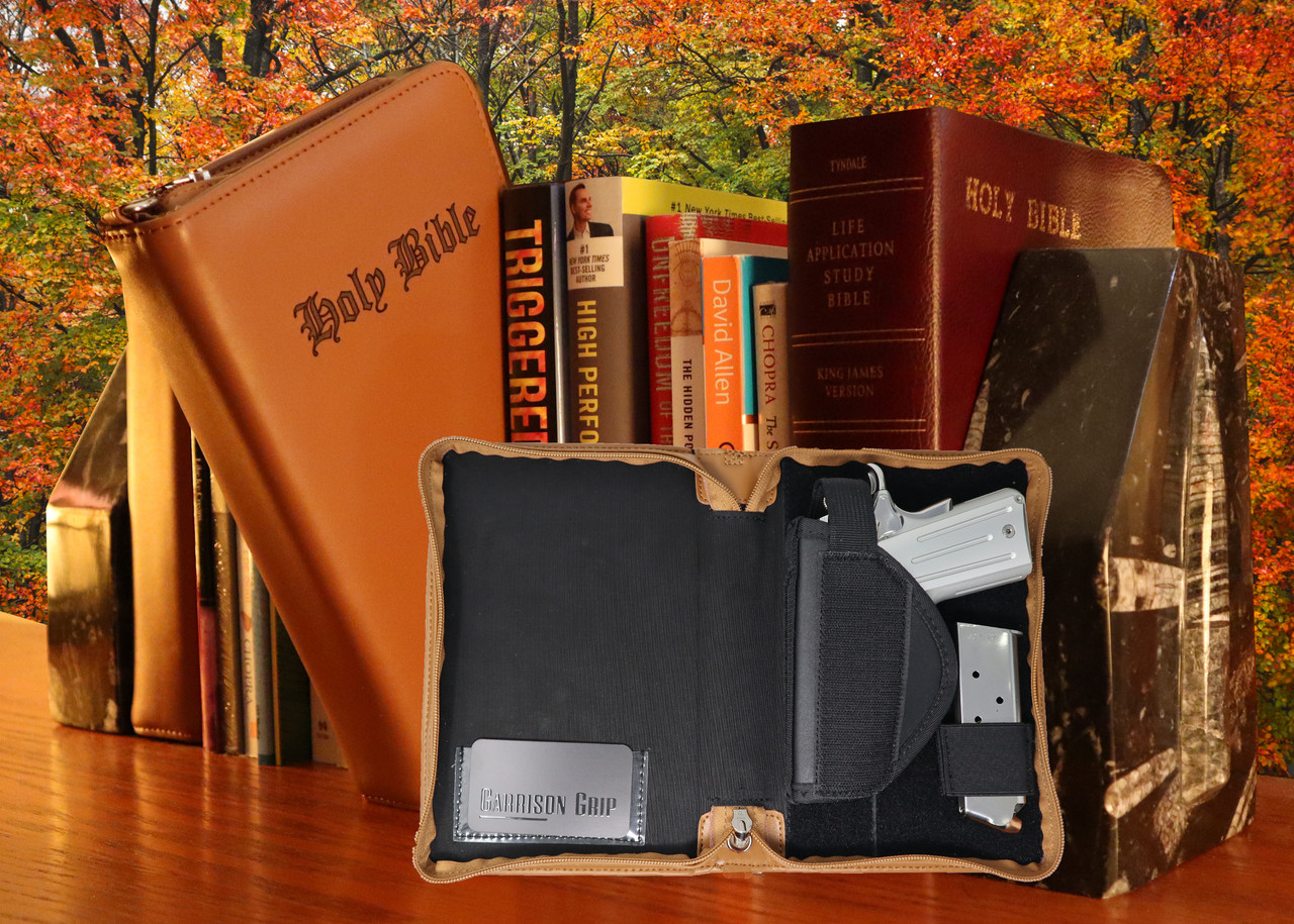 Garrison Grip Quality Brazilian Leather CCW Good Book Style Gun Case for Carry or Storage with Engraved Lettering for LRG/SM Guns (TAN)