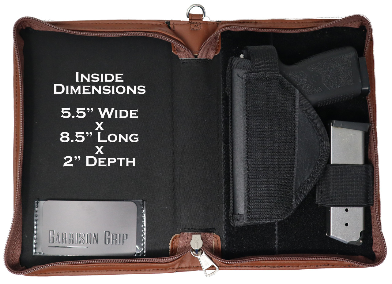 Garrison Grip Brazilian Leather CCW Good Book Style Gun Case for Carry or Storage with Engraved Lettering for LRG/SM Guns (BRN)