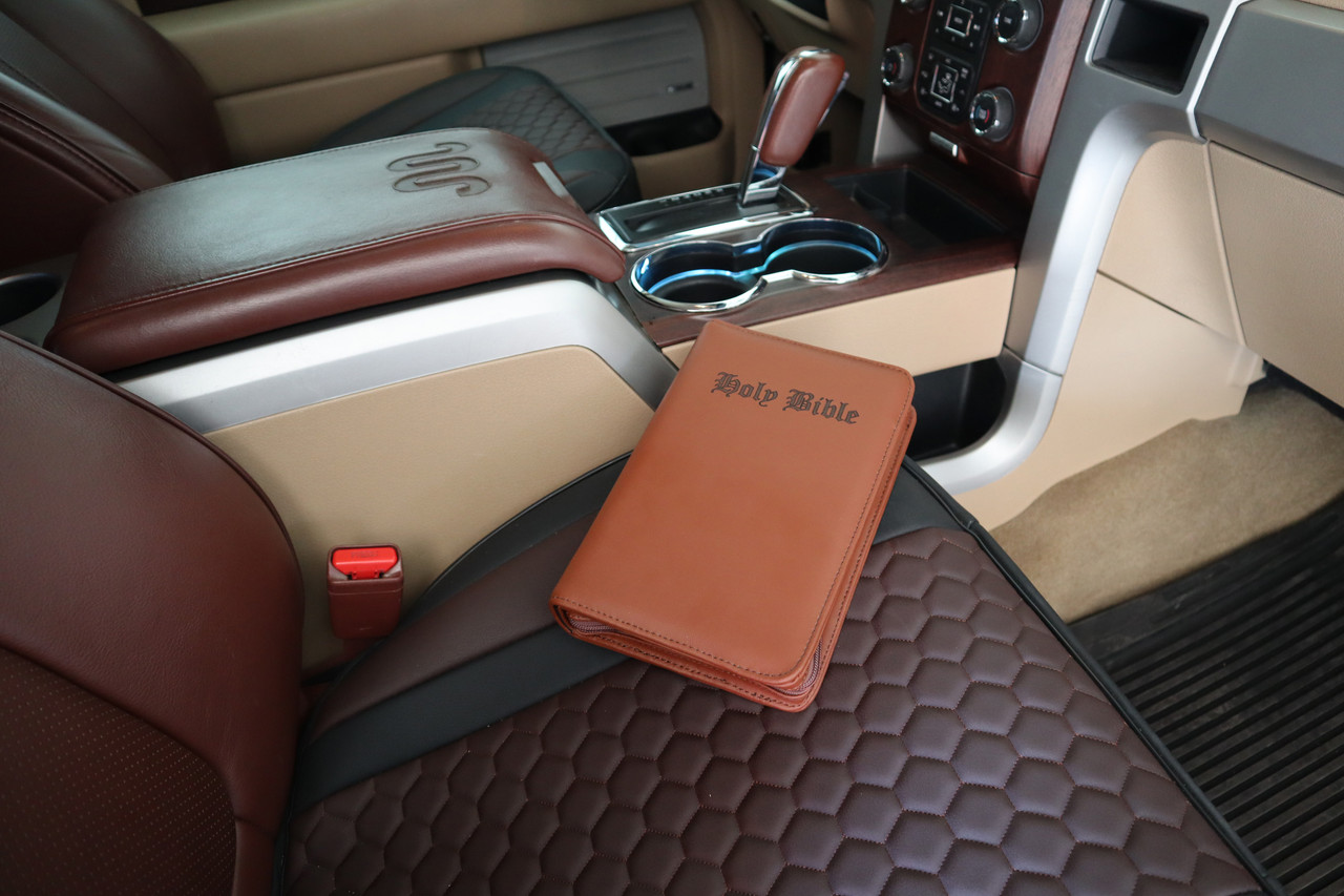 Premium Brown Brazilian Leather Bible Gun Case With Engraved Letters LRG/SM Guns