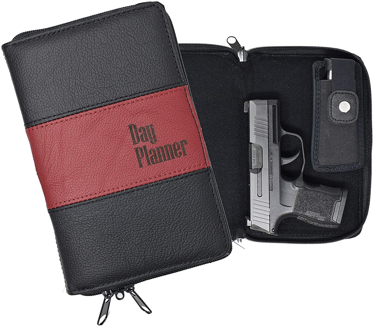 Garrison Grip Quality Leather CCW Day Planner Gun Case for Compact and Subcompact Guns (GTSN) BK