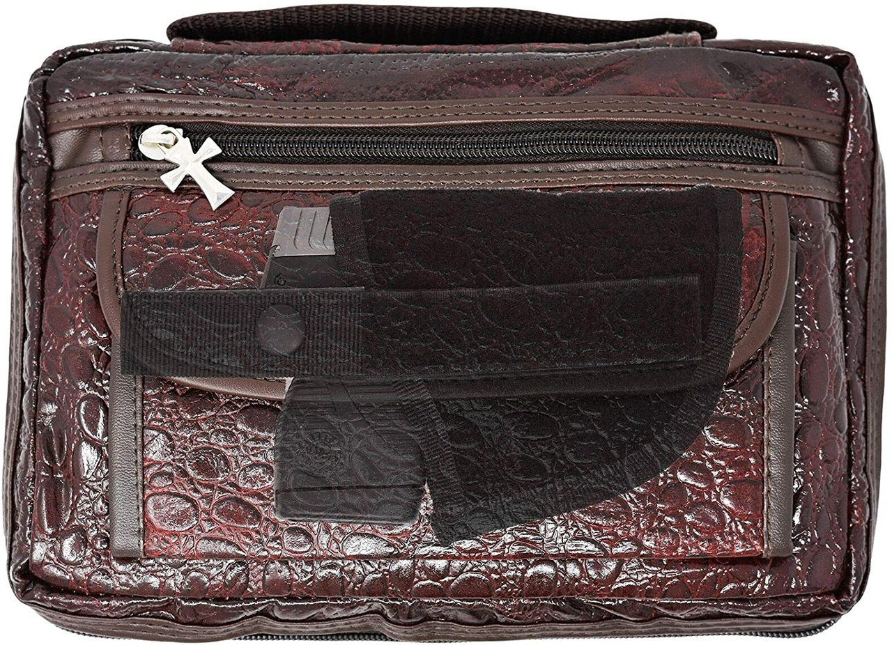 Garrison Grip CCW Leather Alligator Patterned Bible or Day Planner Cover Case for Small Sized 380 Cal and 9mm Guns (Cover Case - Maroon)