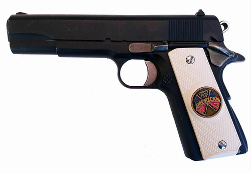 Garrison Grip 1911 Colt A1 Full Size and Clones (Grips Only) with PROUD TO BE AN AMERICAN Colored Medallion Set in Solid White Ivory Colored ABS