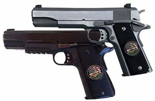 Garrison Grip 1911 Colt A1 Full Size and Clones (Grips Only) with UNITED WE STAND Colored Medallion Set in Solid High Grade White Ivory Colored ABS