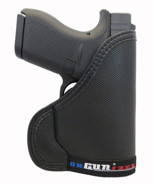 GLOCK 43 G43 9mm Ambidextrous Custom Fit Leather Trimmed orGUNizer Pocket Holster by Garrison Grip (D)