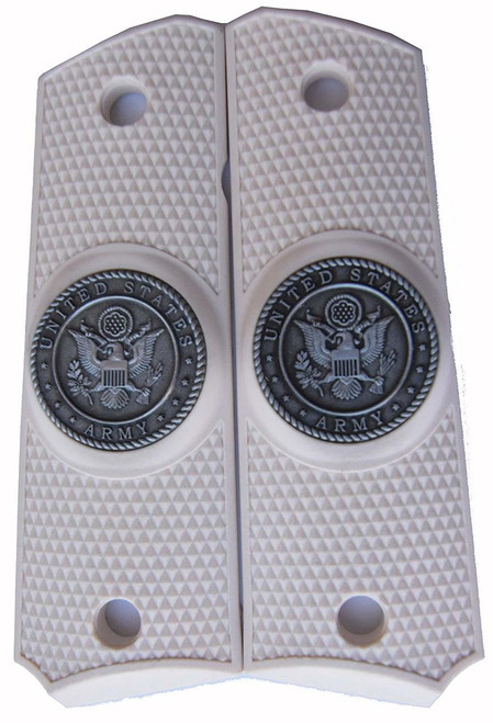 1911 Government Model US Army Pewter Emblems Set In Attractive Light Ivory Color Grips