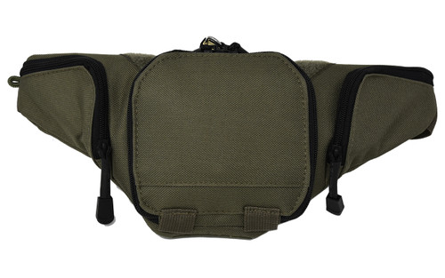 Garrison Grip Army Green Concealed Carry 3 Compartment Durable Canvas Fanny Pack For Small Pistols With Locking Gun Compartment