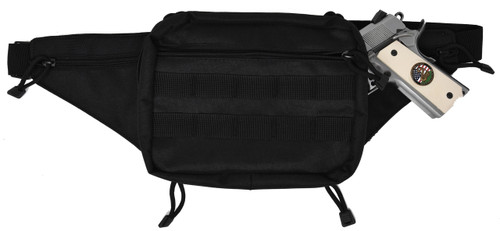 Garrison Grip Concealed Carry 3 Zipper Durable Black Canvas Waist Fanny Pack For Small to Large Pistols With  Gun Compartment