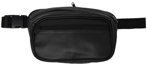 Garrison Grip Concealed Carry 3 Compartment Black Leather Waist Fanny Pack for Small or large Pistols With Locking Gun Compartment