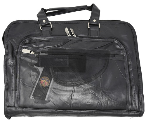 Garrison Grip Concealed Carry Durable Black BUFFALO Leather Briefcase for Small or Large Pistols With Locking Gun Compartment
