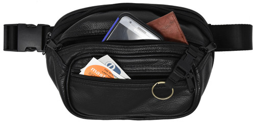 Garrison Grip Concealed Carry 3 Compartment Black Leather Waist Fanny Pack for Small or Medium Pistols With Locking Gun Compartment