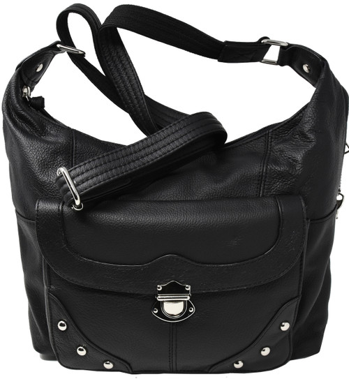 Black Crossbody or Shoulder Carry Leather Locking Concealment Purse  2- CCW Concealed Carry Gun Bag