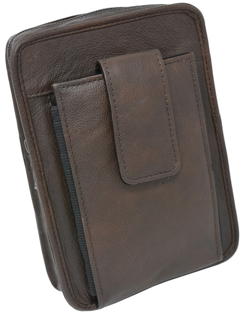 Brown Leather Unisex OWB CCW Cell Phone Clutch For Small Pistols