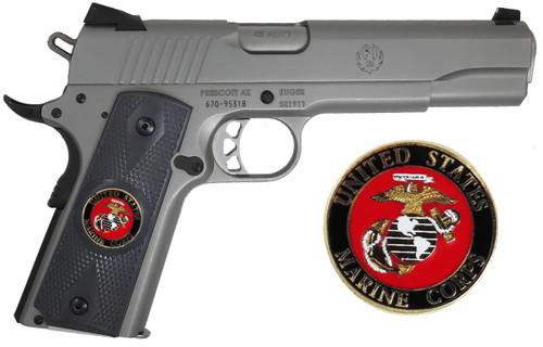 1911 Government Model US Marine Corps USMC Emblems Set In Ebony Black Color Grips G54