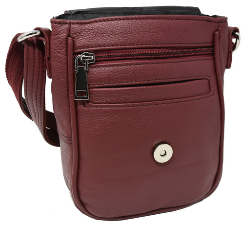 Garrison Grip CCW Attractive Cowhide Red Leather Compact Concealment Purse With YKK Locking Compartment For Small Frame Semi-Auto 22 Cal 380 And 9mm Firearms