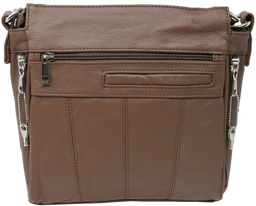 Brown Crossbody or Shoulder Carry Leather Locking Concealment Purse  - CCW Concealed Carry Gun Bag