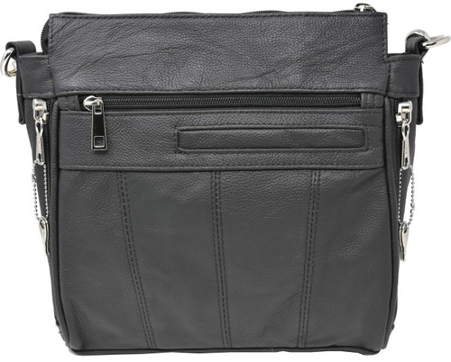 Black Crossbody or Shoulder Carry Leather Locking Concealment Purse  - CCW Concealed Carry Gun Bag