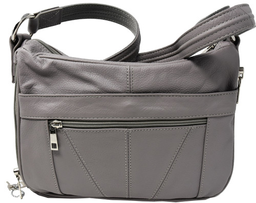 Gray Crossbody or Shoulder Carry Leather Locking Concealment Purse - CCW Concealed Carry Gun Bag